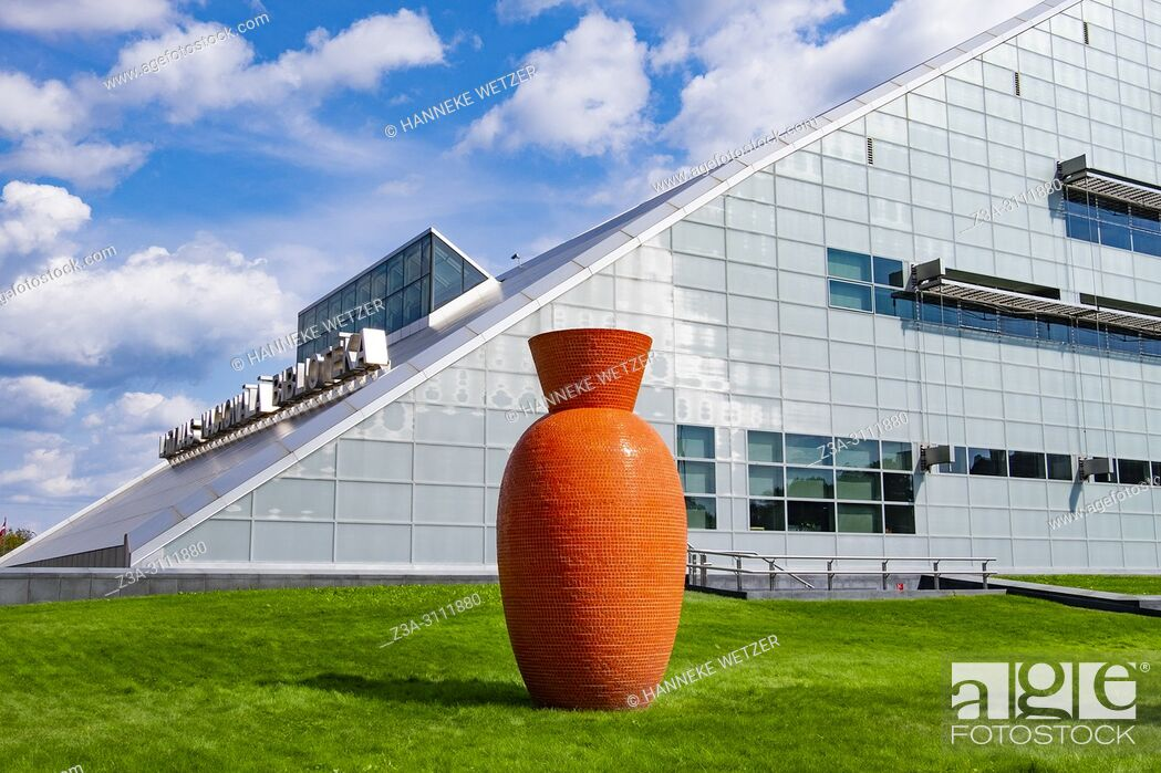 Stock Photo: The National Library of Latvia also known as Gaismas Pils (Castle of Light) in Riga, Latvia, Europe.