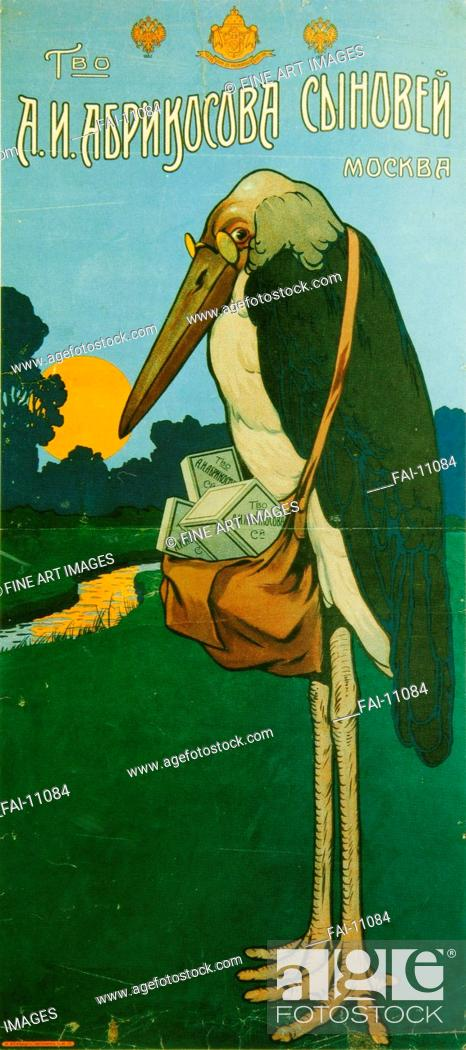 Stock Photo: Advertising Poster for Abrikosov Marmalade. Russian master . Colour lithograph. Art Nouveau. c. 1900. State History Museum, Moscow. 91x41. Poster.