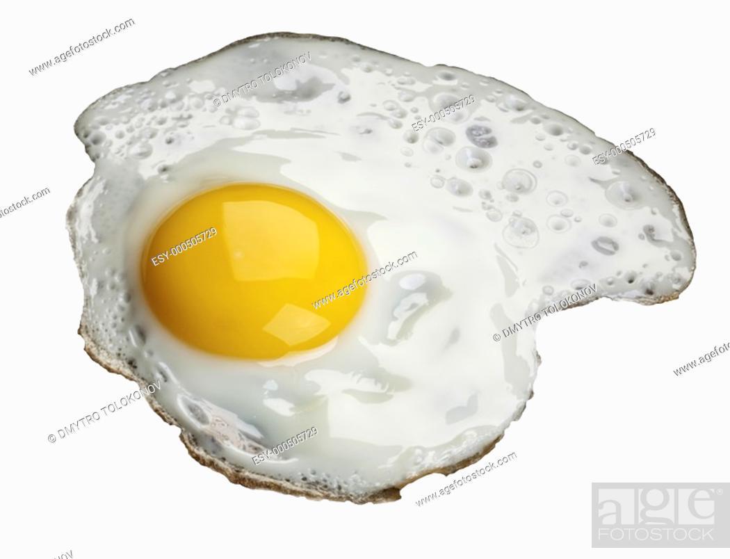 Stock Photo: Fried egg, isolated over white background.