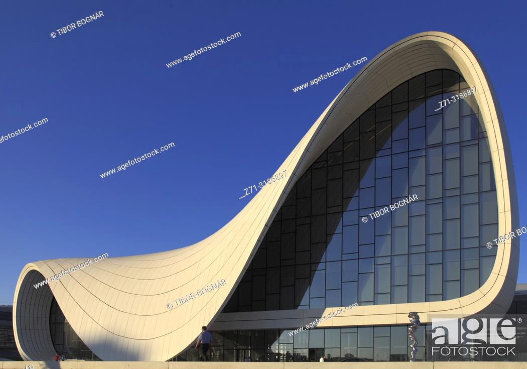 Stock Photo: Azerbaijan; Baku, Heydar Aliyev Center, Zaha Hadid architect,.