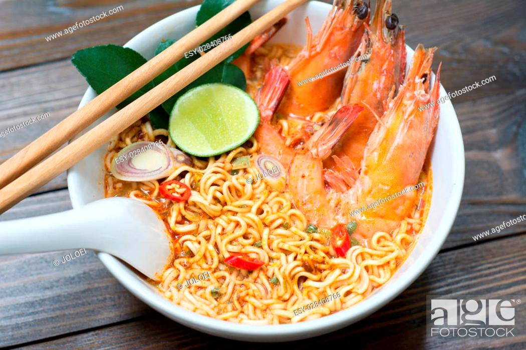 Stock Photo: Thai style noodle, tom yum kung.