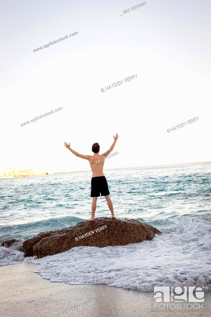 Stock Photo: Man Celebrating On Beach.