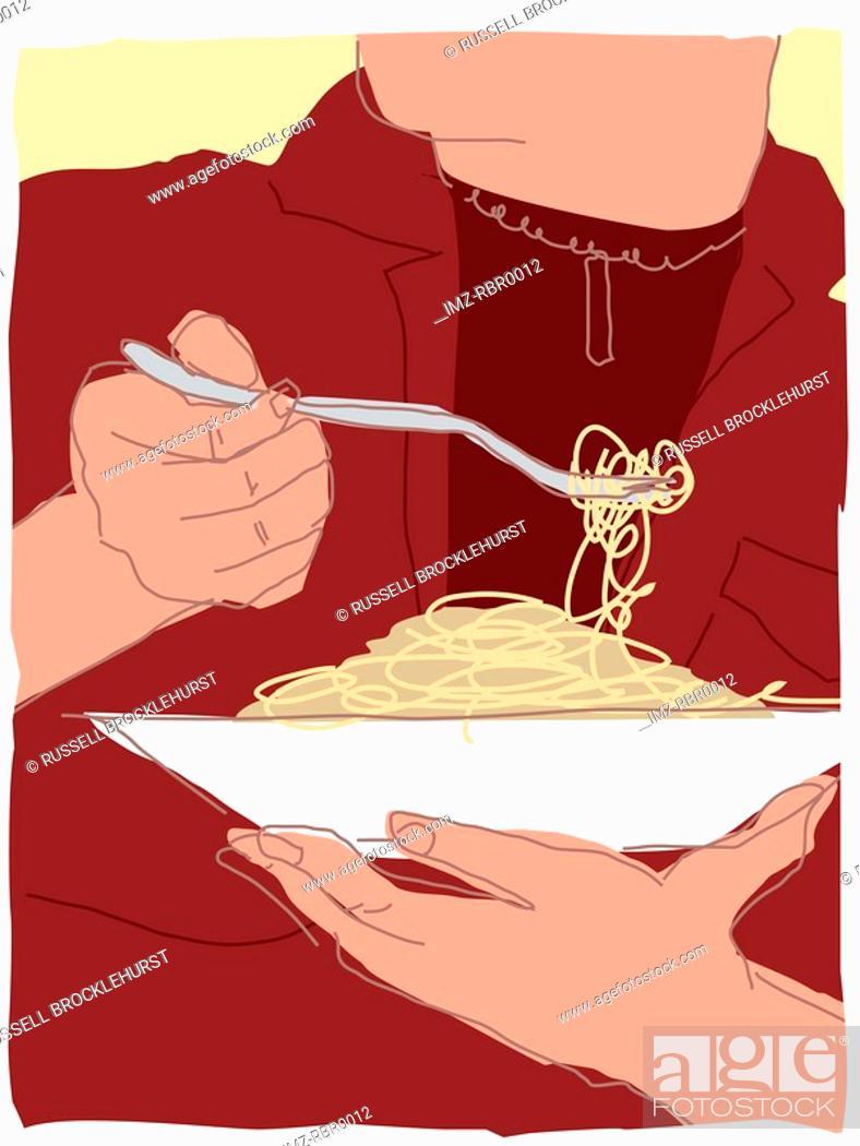 Stock Photo: eating pasta.