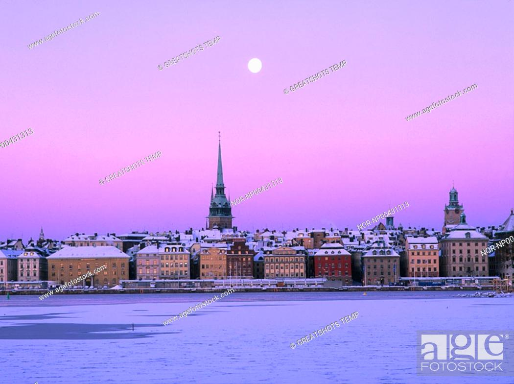 Buildings and houses on shoreline and moon in the background