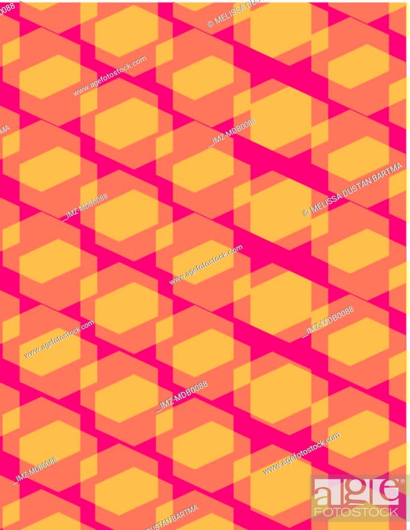 Stock Photo: Orange and pink geometric pattern overlays.
