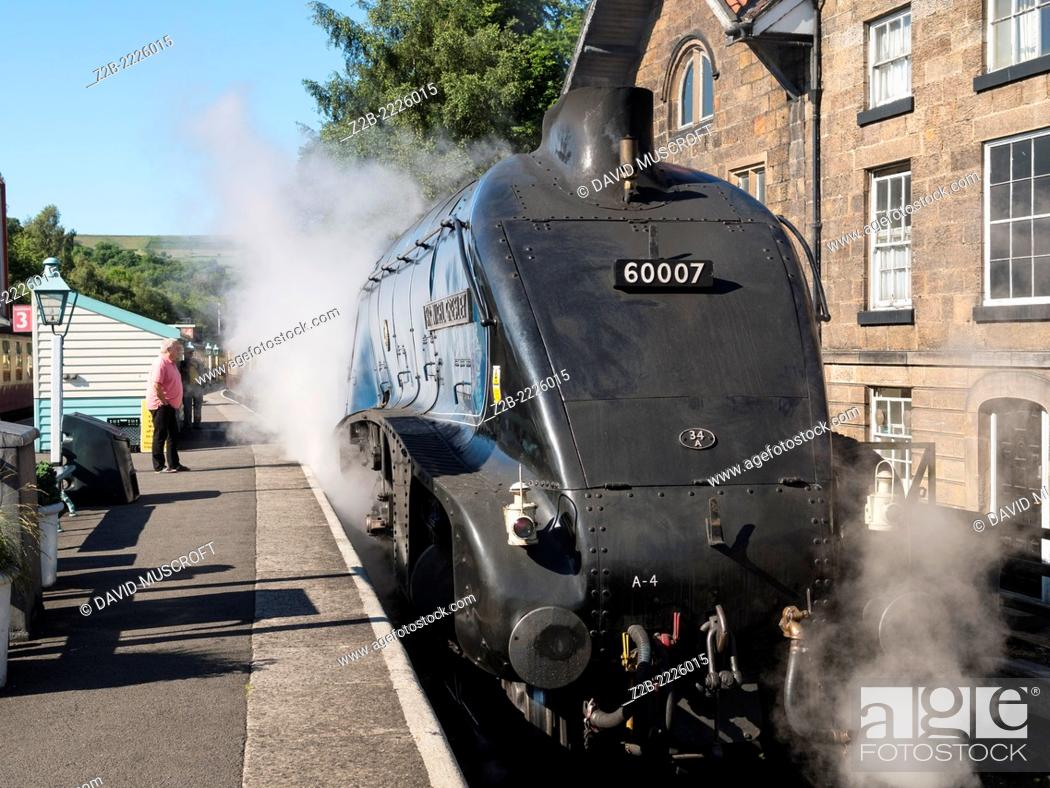 Stock Photo: The vintage A4 Class steam locomotive Sir Nigel Gresley at Grosmont station on the North Yorkshire Moors Railway, near Whitby, North Yorkshire, UK.