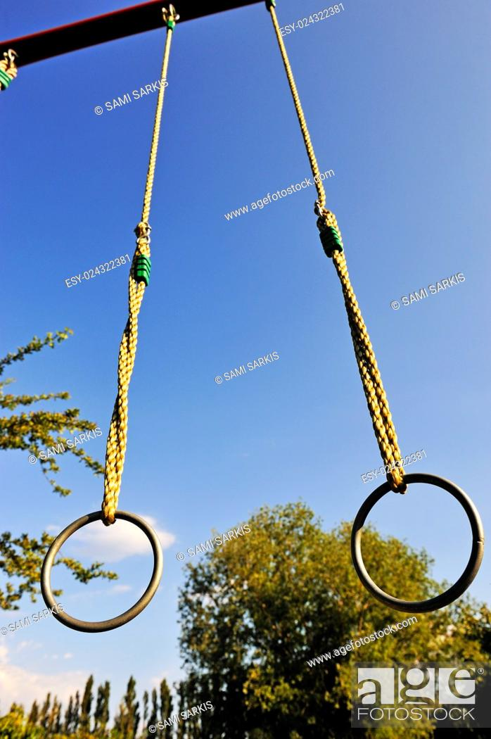 Stock Photo: Gymnastic rings outdoors.