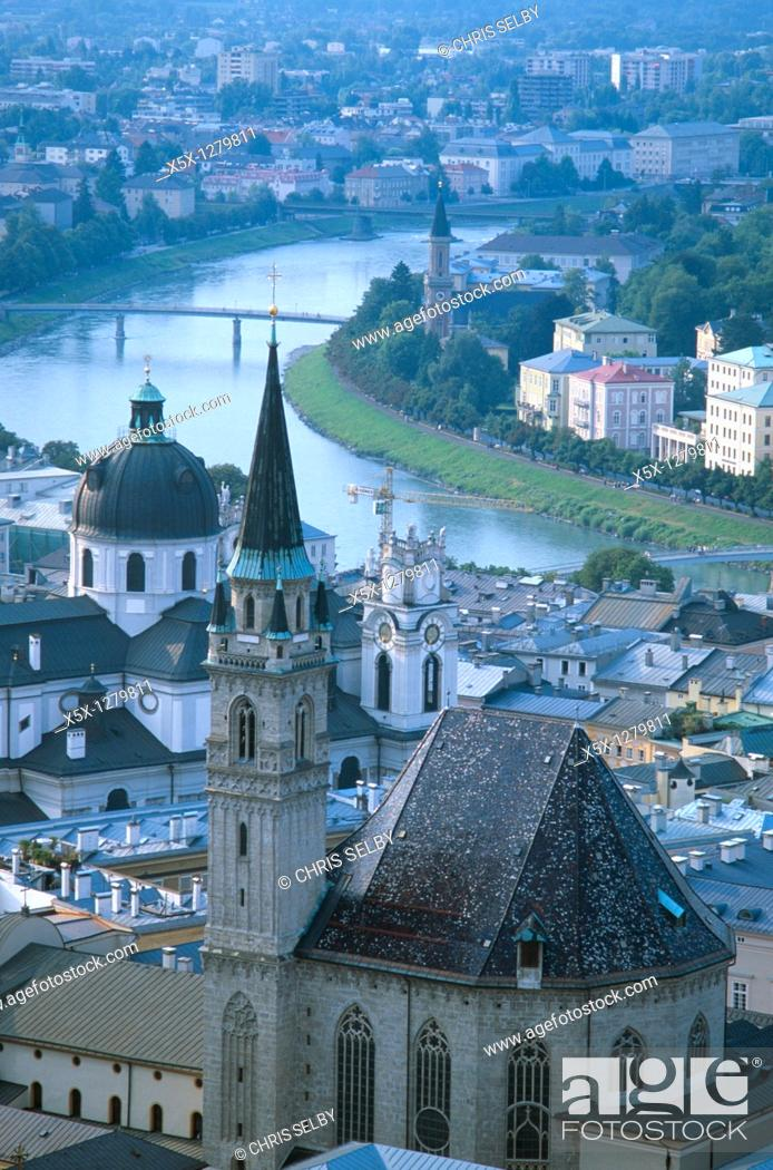 Stock Photo: Salzach River and Franciscan Church seen from Hohensalzburg Fortress in Salzburg, Austria.