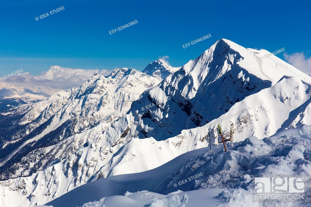 Stock Photo: Scenery top view from Rosa Peak on snowy Caucasus mountains.