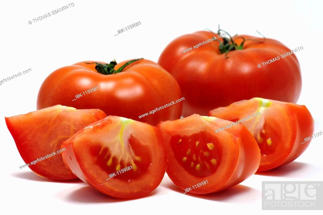 Stock Photo: Beef tomatoes or beefsteak tomatoes.