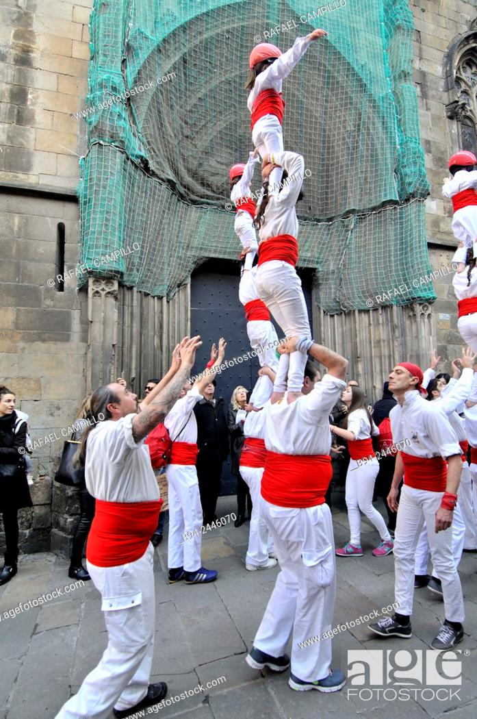 Stock Photo: Castell, human towers. Falcons group. February 12. Celebration of saint Eulalia martyr. 290-303 AD. Canonized 633 AD. Copatron of Barcelona.