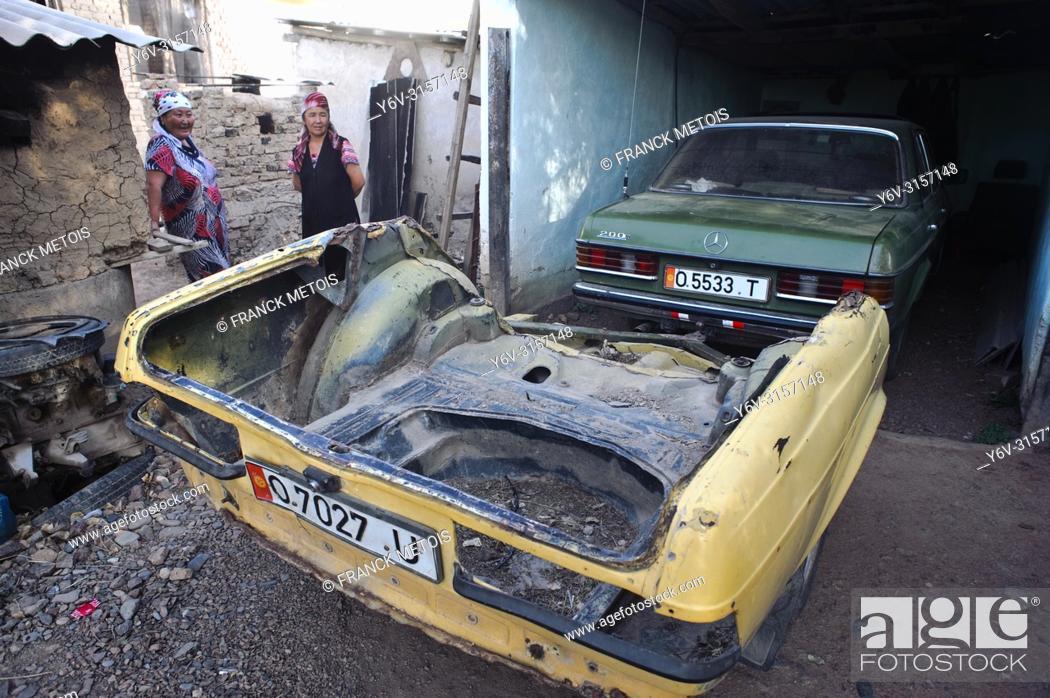 Stock Photo: Car trailer made from a car trunk ( Kyrgyzstan).