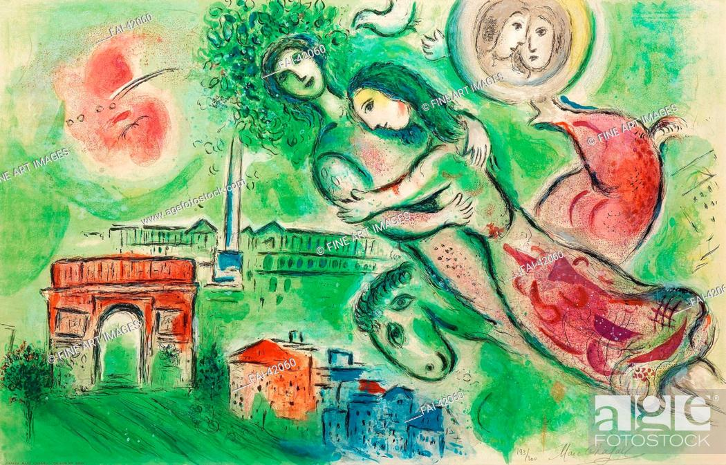 Stock Photo: Roméo et Juliette by Chagall, Marc (1887-1985)/Colour lithograph/Modern/1964/Russia/Private Collection/64, 5x100, 3/Mythology.