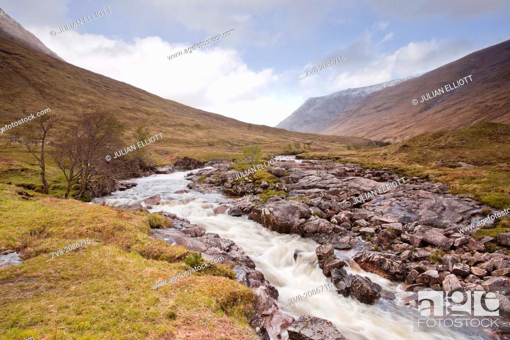 Stock Photo: The River Etive flowing through Glen Etive in Scotland.