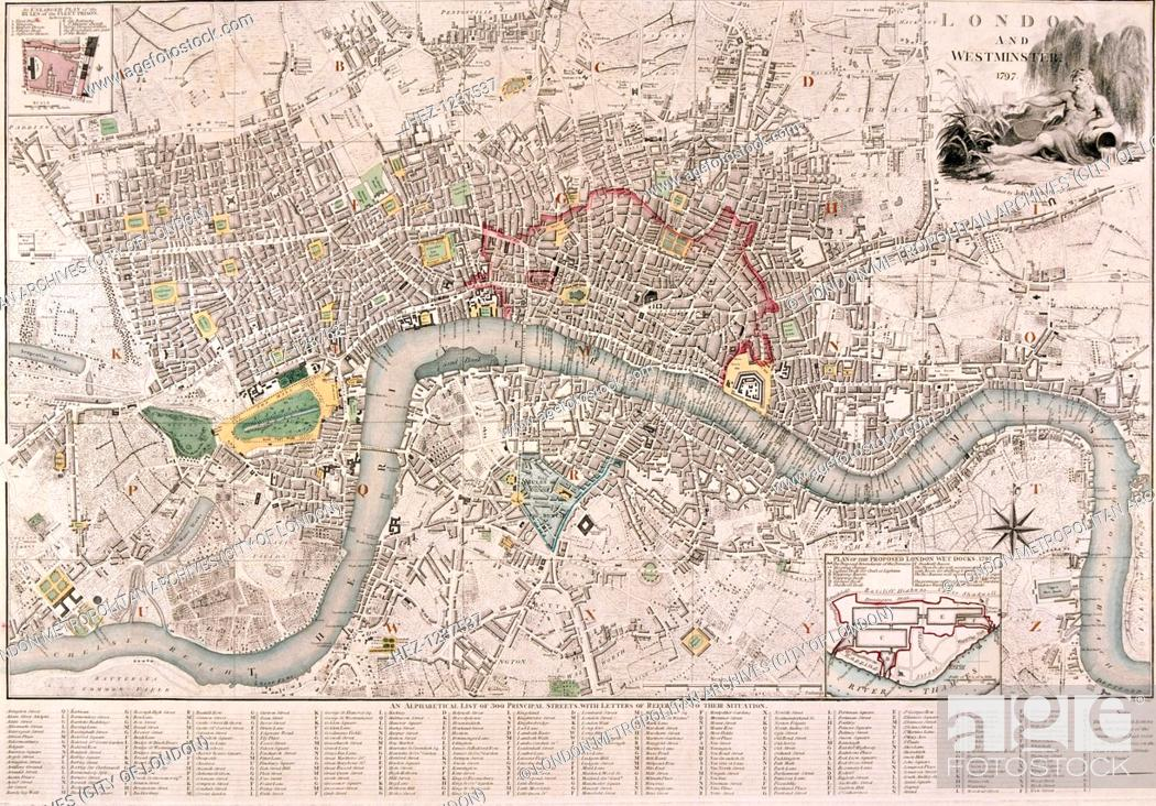 London And Surrounding Areas Map.Map Of London 1797 Map Of The City Of London City Of Westminster