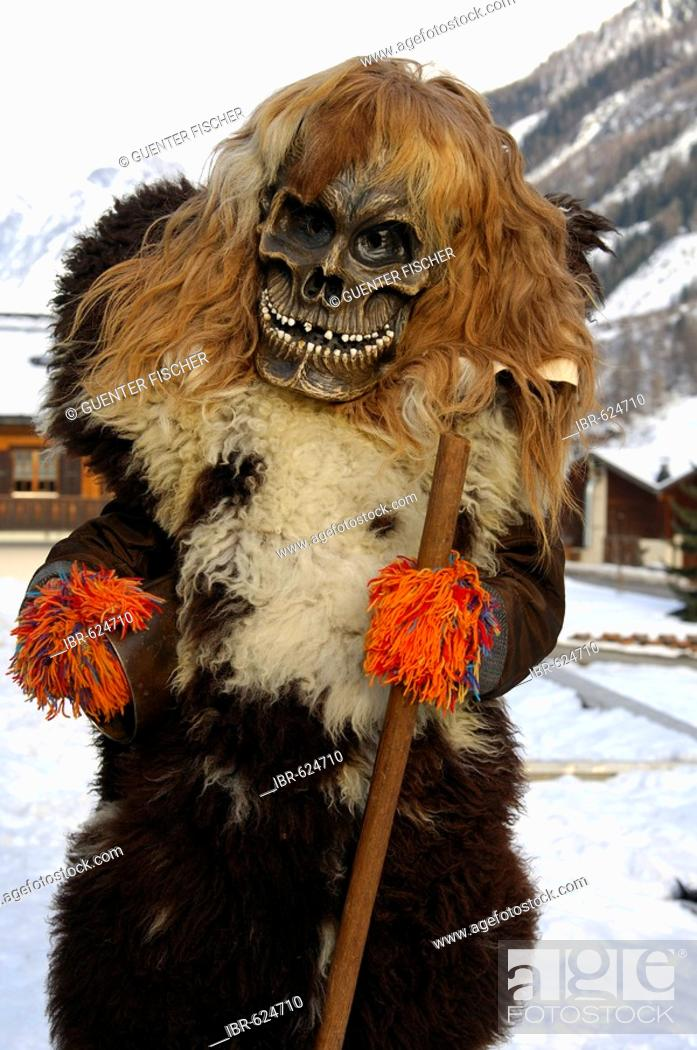 Stock Photo: Tschaeggaetae, Carnival masks, Wiler, Loetschental, Valais, Switzerland.