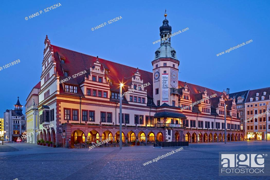 Stock Photo: Market square with the Old Town Hall in Leipzig, Saxony, Germany, Europe.