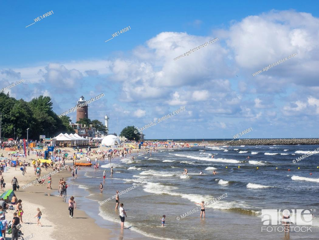 Stock Photo: Central Beach in Kolobrzeg during summer vacations.