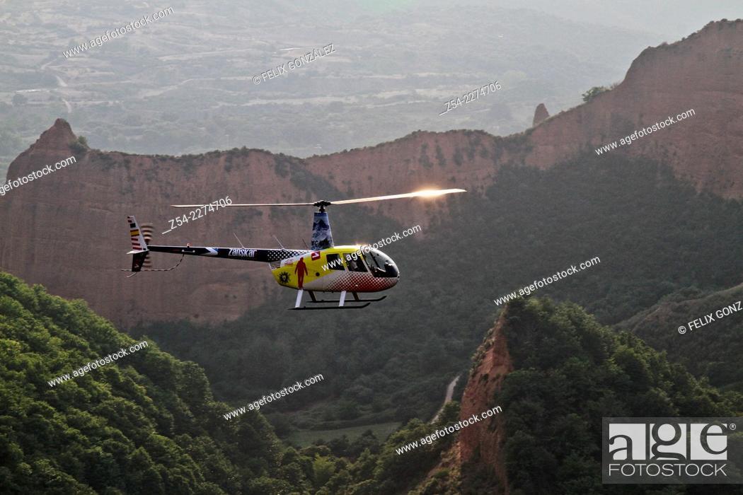 Stock Photo: Helicopter at las Medulas Cultural Park Unesco World Heritage, El Bierzo, Castile and Leon, Spain, Europe.