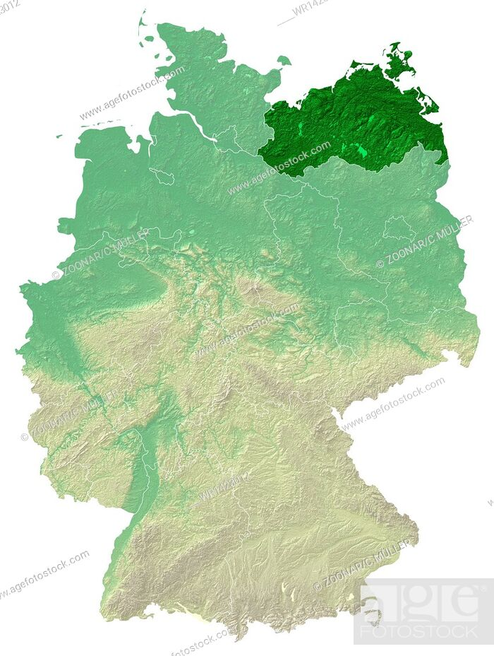 Stock Photo: Mecklenburg-Vorpommern - topographical relief map.