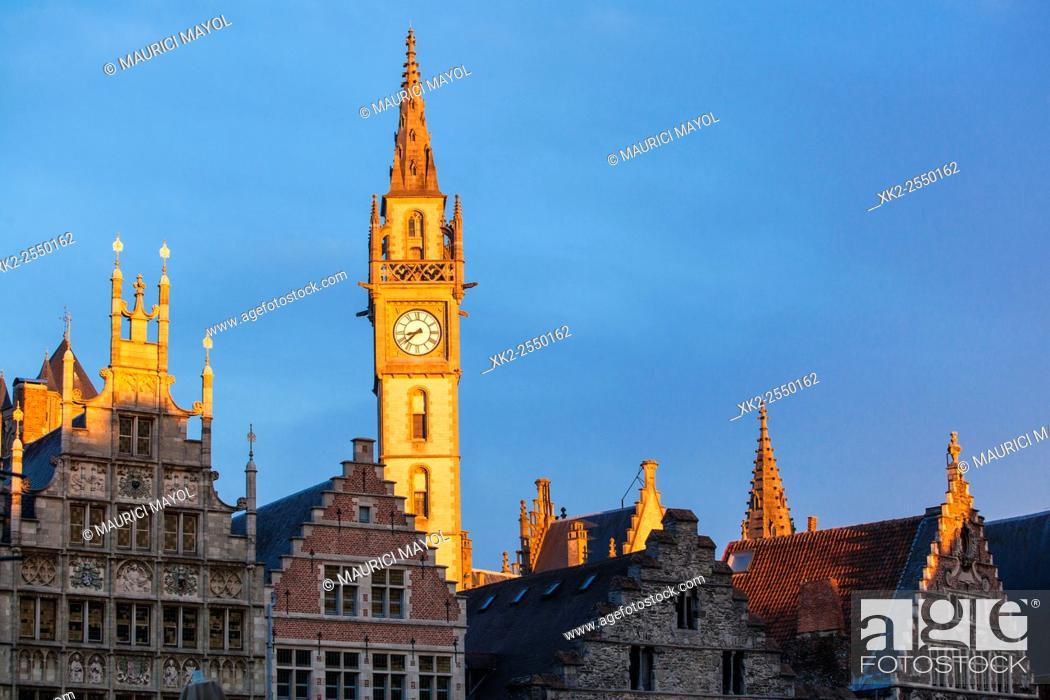 Stock Photo: Pakhuis tower from Korenlei, Gent, Belgium.