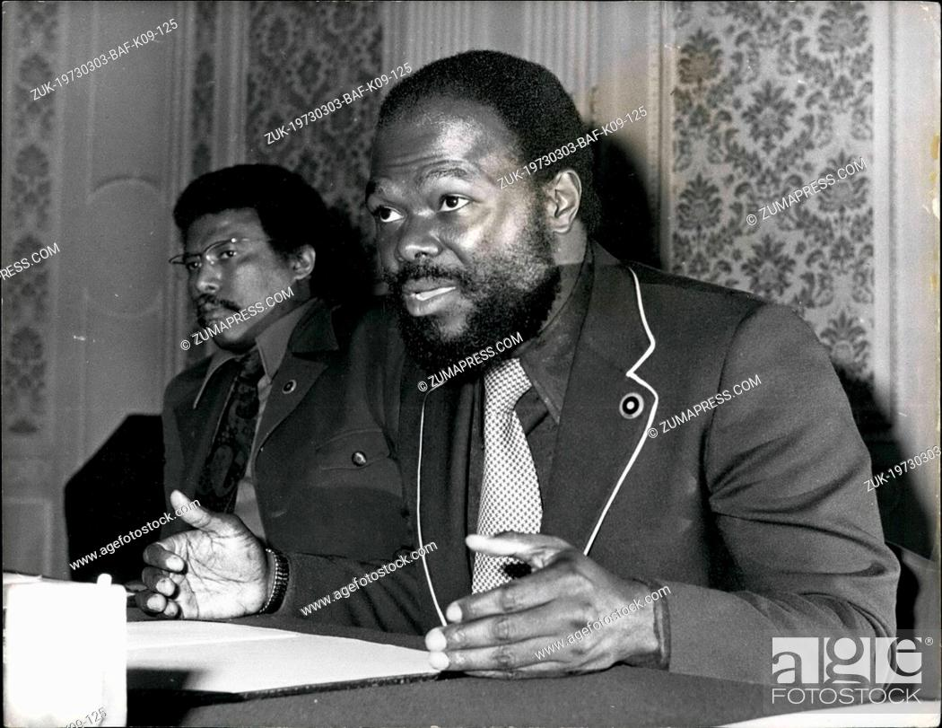 Imagen: Mar. 03, 1973 - American Black Power Chief in London: The American Black Power Leader, Mr. Roy Innis, pictured during a Press Conference.