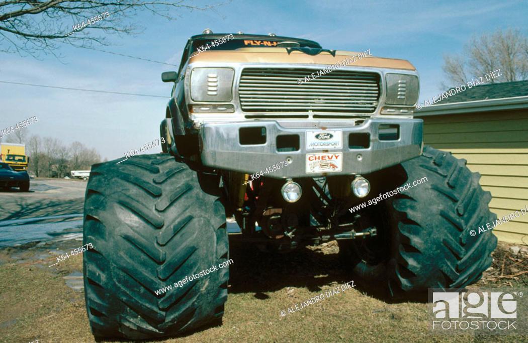 Stock Photo: Monster wheels. Michigan, USA.