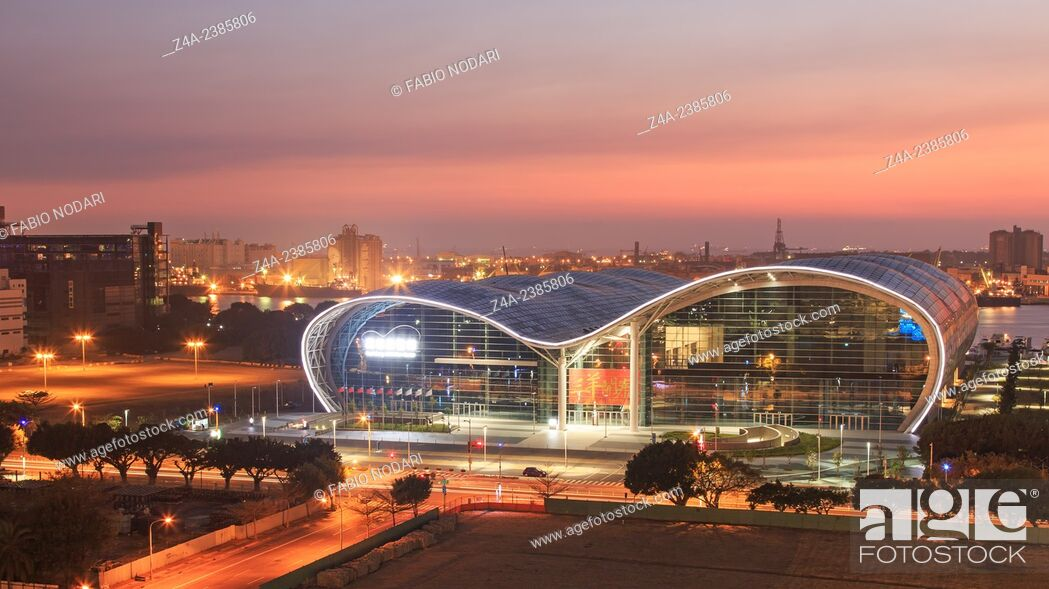 Stock Photo: Kaohsiung, Taiwan: Sunset over the newly opened Kaohsiung Exhibition Center.
