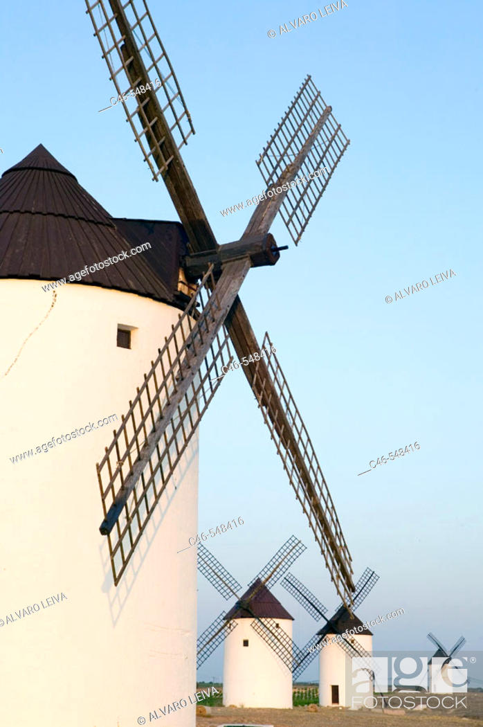 Stock Photo: Windmills. Mota del Cuervo. Cuenca province. The Route of Don Quixote. Castilla-La Mancha. Spain.