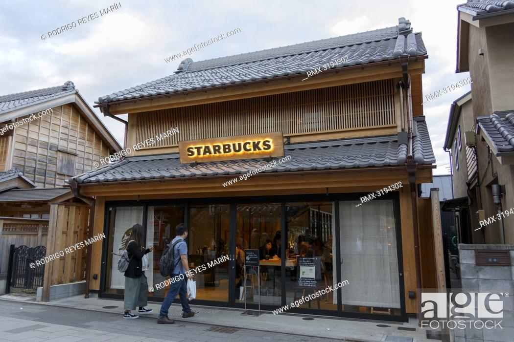 Stock Photo: December 5, 2018, Saitama, Japan - A general view of a Starbucks coffee shop in Kawagoe. The branch opened last March is located near to the Toki no Kane bell.