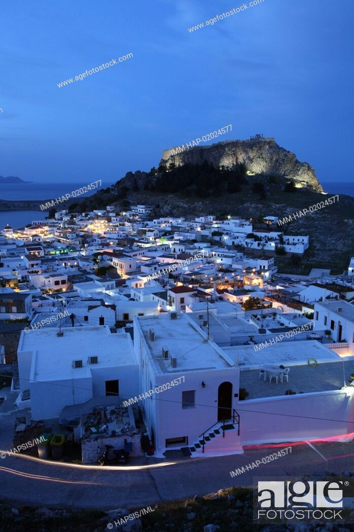 Stock Photo: Lindos, view of the town and the Acropolis, evening, Rhodes, Dodecanese, Greece.