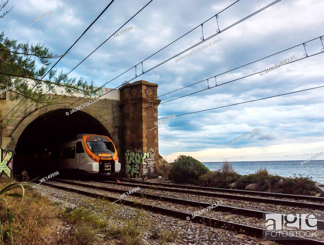 Stock Photo: Commuter train, Arenys de Mar, Barcelona province, Spain.