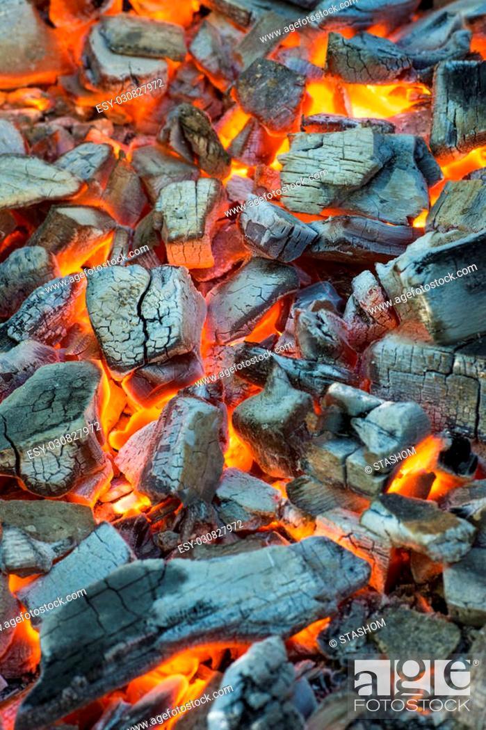 Burning Coal Glowing Embers Smoldering In The Fireplace Stock