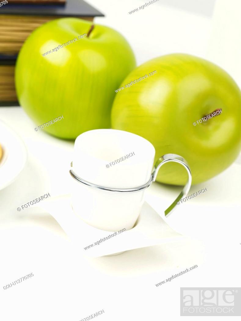 Stock Photo: plant, fruit, coffee, cup, apple, breakfast.