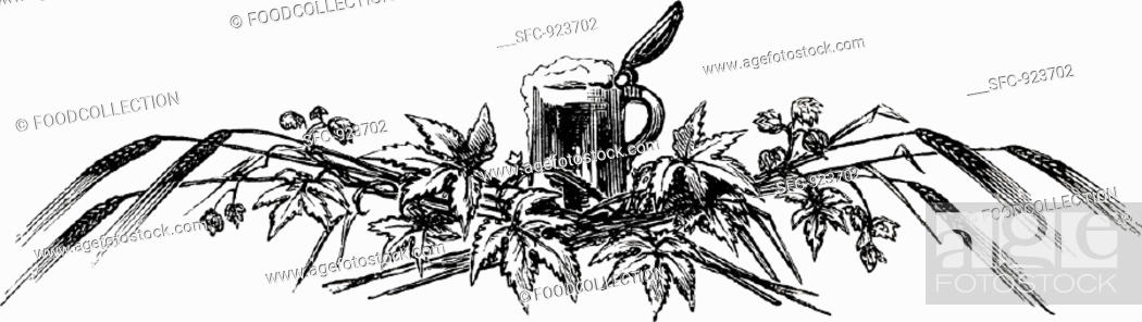 Stock Photo: Tankard with hops and ears of corn (illustration).