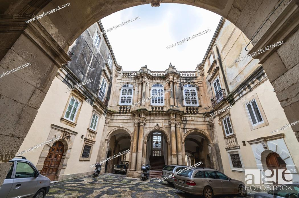 Stock Photo: Courtyard of Beneventano del Bosco townhouse at Cathedral Square (Piazza del Duomo) on Ortygia island, Syracuse city, Sicily Island, Italy.