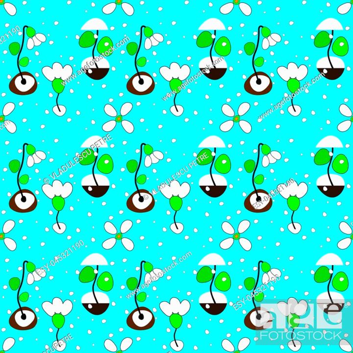 Stock Vector: pattern with snowdrops and snowflakes on blue background.
