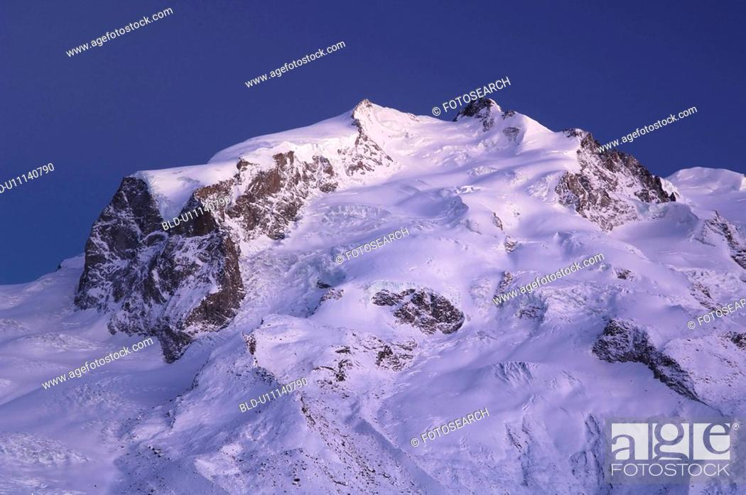 Stock Photo: bergruecken, area, bergkuppe, bergkegel, ascent, dufourspitze, Alps.