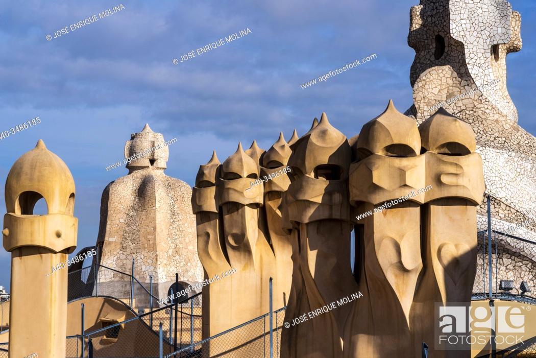 Stock Photo: La Pedrera (Milá House), Roof, Gaudí, Barcelona, Catalonia, Spain.