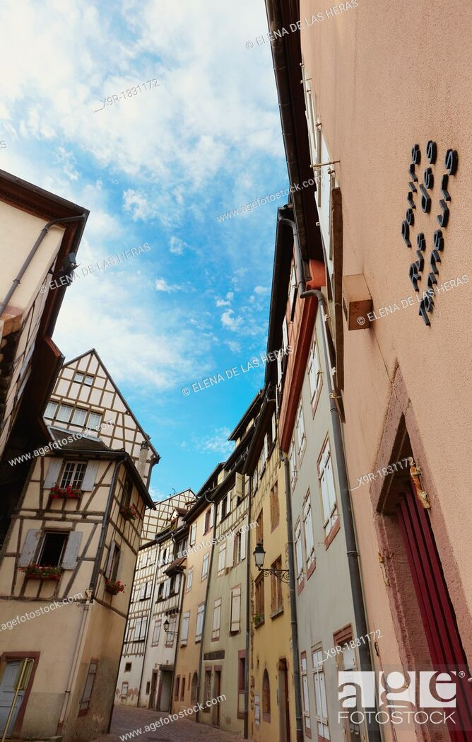 Stock Photo: Tanner's district  The houses, mostly date back to the 17th and 18th centuries, were used by tanners who worked and lived there  Colmar, Alsace, France.