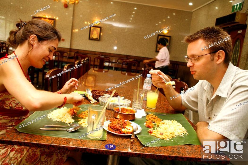 Banana Leaf Restaurant Little India Singapore Stock Photo
