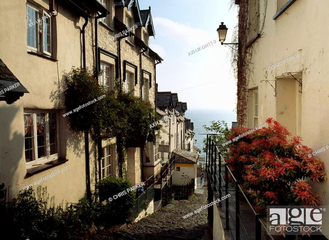 Stock Photo: Buildings looking over the sea, Clovelly, North Devon, England.