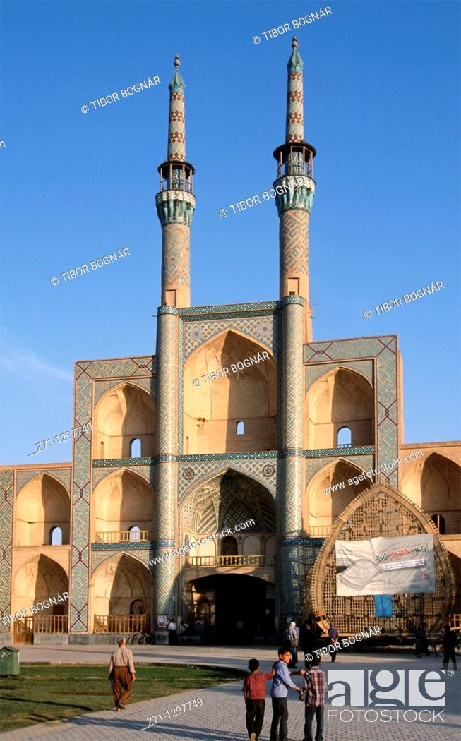 Stock Photo: Iran, Yazd, Amir Chakhmaq Complex, traditional architecture.