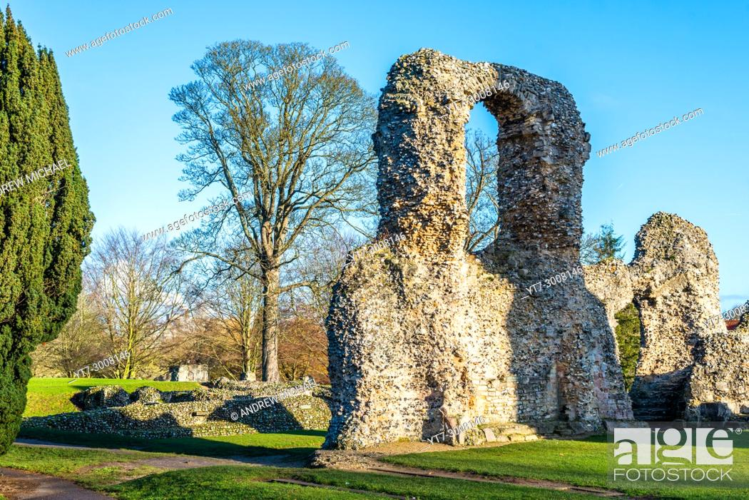 Stock Photo: In the heart of Bury St Edmunds, Suffolk, the abbey was once one of the richest and most powerful Benedictine monasteries in England.