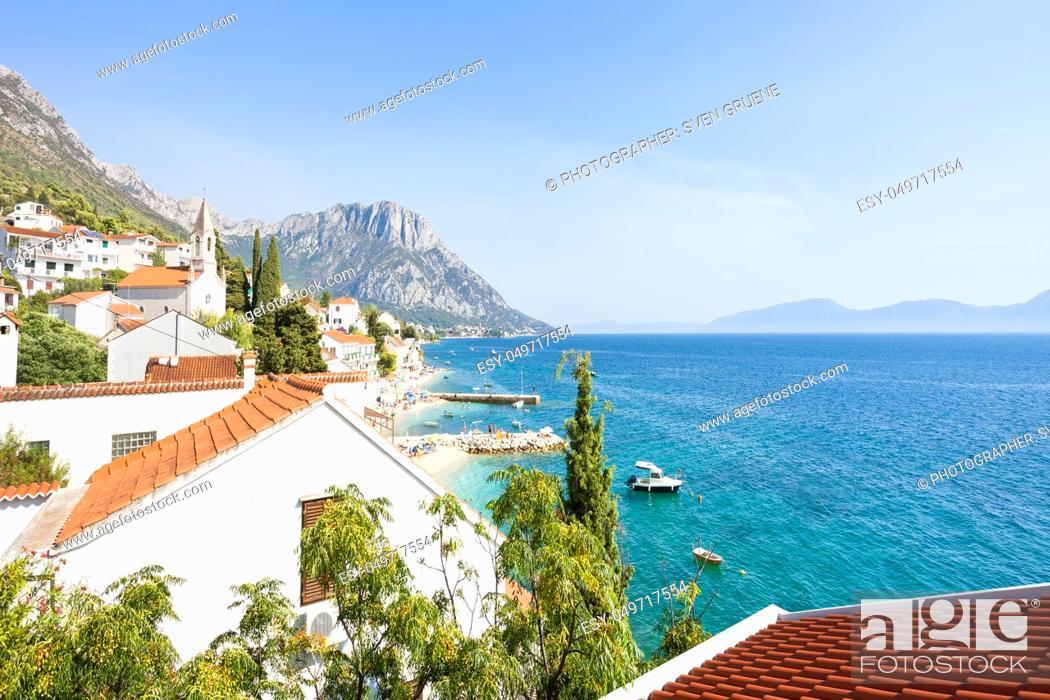 Stock Photo: Brist, Dalmatia, Croatia, Europe - Lookout upon the beautiful bay of Brist.