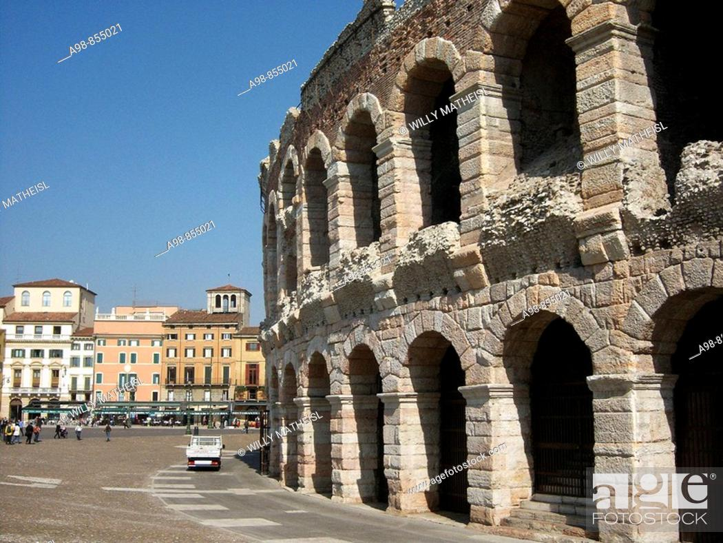 Stock Photo: Roman Amphitheatre in the city of Verona, Italy, Europe.