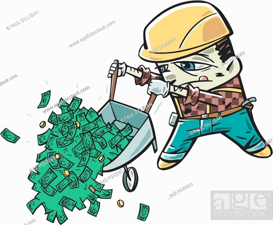 Stock Photo: A man dumping a wheelbarrow full of money.