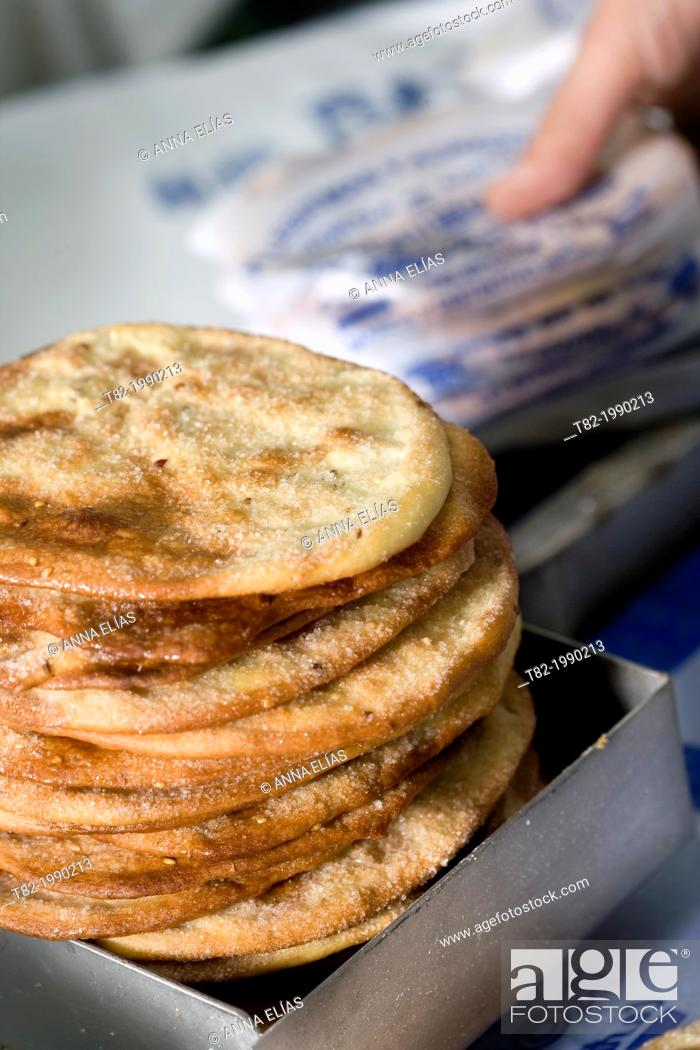 Stock Photo: Ines oil cakes Rosales, sweet typical Andalusian, Sevilla, Andalucia, Spain.