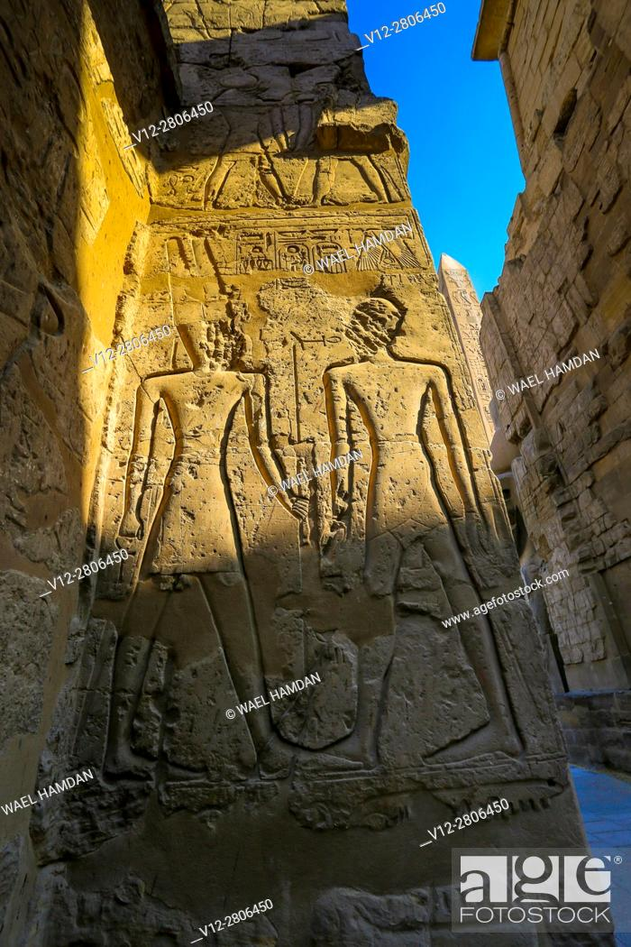 Imagen: Carved stone relief at Luxor temple, Egypt, Luxor.