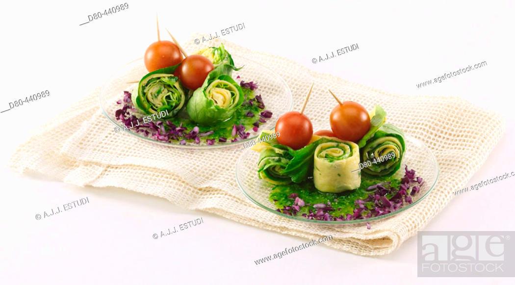 Stock Photo: Lettuce and omelet rolls.